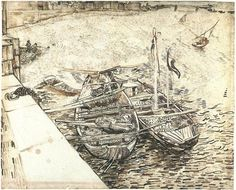 Quay with Men Unloading Sand Barges by Vincent Van Gogh Drawing, Pencil, reed and quill pens and black and brown ink on Whatman paper Arles: 1888 Vincent Van Gogh, Artist Van Gogh, Van Gogh Art, Van Gogh Drawings, Van Gogh Paintings, Art Van, Alphonse Mucha, Van Gogh Zeichnungen, Desenhos Van Gogh