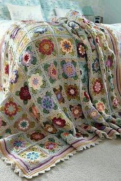 Crochet Granny Square Patterns Painted Roses Blanket Crochet pattern by Sandra Paul Crochet Afghans, Crochet Quilt, Crochet Blanket Patterns, Knit Crochet, Crochet Fabric, Crochet Baby, Knitting Patterns, Crochet Summer, Crochet Chart