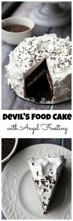 Deep dark chocolate devil's food cake is topped with a fluffy marshmallow frosting making for one rich and delicious dessert.