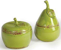 Crackle Ceramic Apple or Pear with lid from Shanghaied
