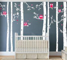 Seven Birch Tree Decal with Owls Birch Tree von InAnInstantArt