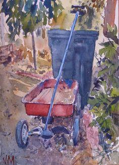 "Claudia's Garden nook Original Watercolor Painting 7"" X 5"" Original art #Realism"