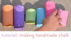 homemade chalk ... something to try, maybe a (literacy) program craft?