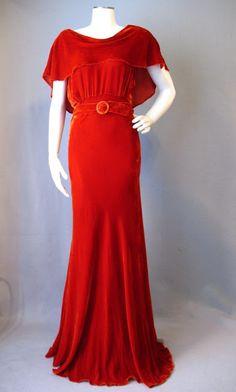 ~1930s burnt orange velvet bias cut velvet evening dress~