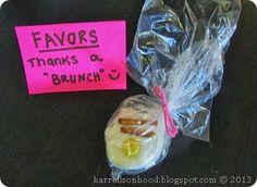 Baby shower brunch ideas-- thanks a brunch favor ideas, brunch chocolate candies with pretzel sticks and reese's pieces
