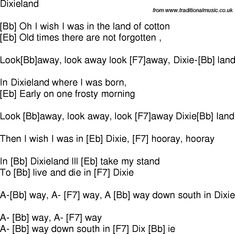 Old time song lyrics with chords for Dixieland Bb