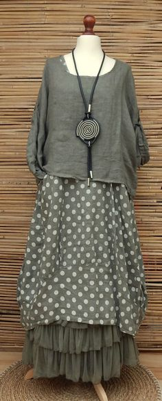 LAGENLOOK LINEN AMAZING LOVELY 2 PCS DOTS DRESS+OVERTOP*KHAKI*SIZE L-XL-XXL