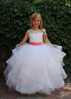 67d718ac8dc 2016 Flower Girls Dresses With Tiered Skirts And Sheer Neck Layers Tulle  Ball Gowns First Communion Gowns For Kids Floor Length Girls Spring Dresses  Gold ...