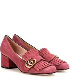 Pink suede loafer pumps