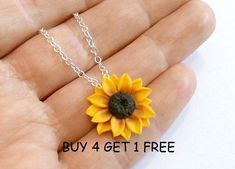 96ae13300 Sunflower Necklace, Sunflower Jewelry, Gifts, Yellow Sunflower Bridesmaid,  Sunflower Flower Necklace,