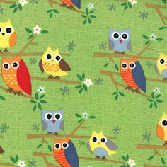 OWLS BLOCKS REALISTIC TREE OWL GREEN BLACK COTTON FABRIC BTHY