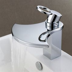 Sumerain S1262CW Waterfall Single Hole Bathroom Sink Faucet