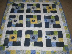 Denim picnic blanket with yellow and blue