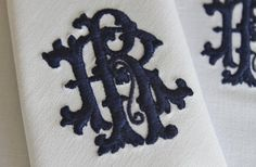 Monogrammed Napkins - Monogram Napkin - Personalized Embroidered Monogram Napkin - Dinner Cloth Napkin - Made With Vintage French Linen
