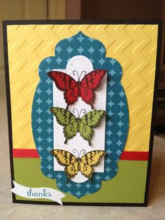 Summer Papillon.... don't like so many colours, but DO like the layout and embossing...