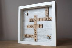 This is a handmade picture which is designed and made by myself in Wales.  The Picture is housed in a 23 cm by 23 cm boxed frame which includes front glass, please note the frame is not handmade.  This picture can be personalised with wooden scrabble letters and hand painted coloured hearts of your choice.  Once your order is placed I will contact you to discuss your requirements.  This is an ideal gift for any occasion.  Please follow me on Pinterest search - Melitas Crafts.