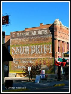 Great collection of hand painted wall signs on the former Manhattan Hotel in Salida. There were several Snow Drift Shortening signs scattered around town. Building Signs, Building Art, Advertising Signs, Vintage Advertisements, Salida Colorado, Vintage Wall Art, Vintage Signs, Antique Signs, Manhattan Hotels