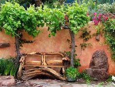 gartendeko mit DIY Gartenbank aus holz