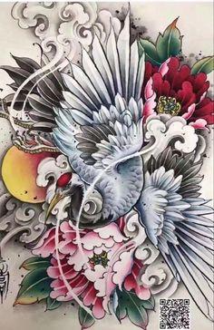 Angel Wings Tattoo On Back, Wing Tattoos On Back, Tattoo Japanese Style, Japanese Tattoo Designs, Japanese Pheonix Tattoo, Geometric Sleeve Tattoo, Sleeve Tattoos, Fenix Tattoo, Foo Dog Tattoo