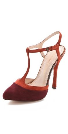 maroon and rust t-strap pumps #fall
