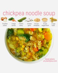 A hearty vegan chickpea noodle soup is what you need to warm up during this fall season. It's the perfect alternative to a traditional chicken noodle soup recipe! Plant Based Eating, Plant Based Diet, Plant Based Recipes, Veggie Recipes, Soup Recipes, Whole Food Recipes, Vegetarian Recipes, Diet Recipes, Cooking Recipes