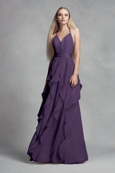 20338f624cfc Chiffon Bridesmaid Dress with Cascading Skirt Style VW360326, Amethyst, 0  Davids Bridal, Bridesmaid
