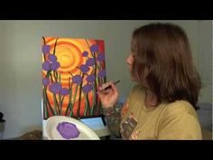▶ How To Acrylic Paint The Sunset With Flowers - YouTube