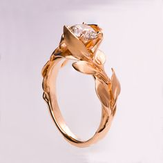 Leaves Engagement Ring No. 7 - 14K Rose Gold and Diamond engagement ring…