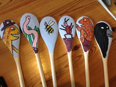 Superworm story spoons / puppets.  Story spoons I made for a parent and child after school book club. (Although these have been claimed by my 4 year old!)