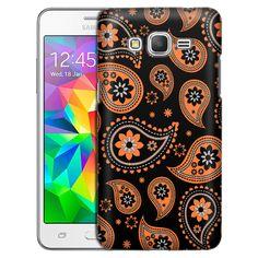 Samsung Grand Prime Paisleys Cute Orange on Black Slim Case