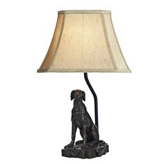 An ideal table lamp for all dog lovers. Rover traditional dog sculpture table lamp in bronze metal with gold textured faux silk shade. Table Lamp Shades, Table Lamp Base, Light Table, Buffet Lamps, Bedside Table Lamps, Dar Lighting, Interior Lighting, Bankers Lamp, Dog Table