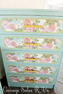 Garage Sales R Us: Mod Podge Dressers   Now I know what to do with the paper I cannot part with in my collection.