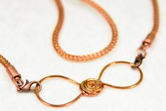 Knit Copper Wire Bow Necklace Infinity Necklace by SmallestPlanet