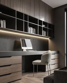 Scandi Style Home Office Design - Study/Media - Whether you work from home or have carved out space for something you love like drawing, reading, o - Study Room Design, Home Library Design, Office Interior Design, Office Interiors, House Design, Office Cabinet Design, Modern Office Design, Bureau Design, Exterior Design