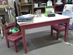 $65 - The Formica top table and solid wood chairs are made by Child Craft. The set has been painted red and distressed. The table measures 35 inches x 23 inches and stands 20 inches tall. It can be seen in booth E19 at Main Street Antique Mall 7260 East Main St ( E of Power Rd ) Mesa 85207  480 9241122open 7 days 10 till 530 Cash or charge accepted