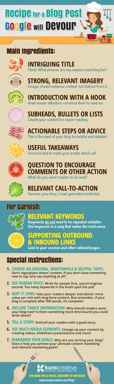 Recipe for a Blog Post Google Will Devour [Infographic] image blog recipe kuno creative infographic