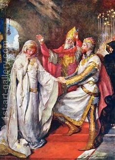 The marriage of King Arthur and Queen Guinevere. Painted by John Henry Frederick Bacon.
