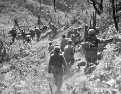 KOREAN WAR: TRIANGLE HILL. After enemy artillery has disrupted the Allied trolley system, litter bearers carry an injured soldier down, October 1952.