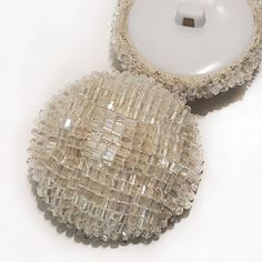 G-592 - Large White Iridescent Hand Beaded Button Knitting Patterns, Crochet Patterns, Online Yarn Store, Sock Yarn, Black Glass, Large White, Iridescent, Glass Beads, Knit Patterns