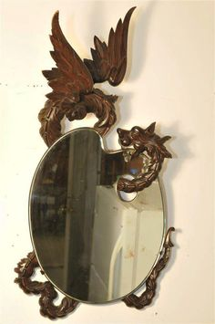 Amazing French Fantasy Dragon Mirror in Walnut 2774 by Thegatz