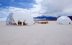 This luxury travel service will build you a custom temporary hotel anywhere in the world.Travelers can choose how they'd like their accommodations to look. There are a few tent options: canvas, dome, bubble, bell, tropical villa, yurt, and lodge.