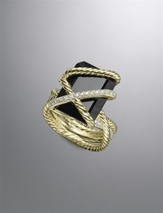 David Yurman Women's Cable Wrap Ring, Black Onyx