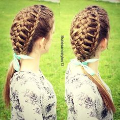 feathered hairstyles , 5 strand braid, 5 strand how to , 5 strand , ponytail , ribbon , school hairstyles , school braids, braids