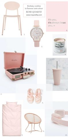 Www.mayandfay.blog: Birthday wishlist in Pantone color 2016 Rose Quartz