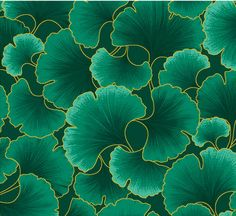 Gingko Leaves Teal and Gold Kona Bay Fabric Trees To Plant, Plant Leaves, Motif Vintage, Image Digital, Teal And Gold, Art Graphique, Art Plastique, Fabric Painting, Textures Patterns