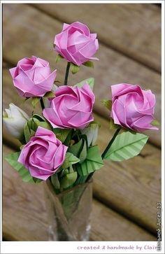 Бумажные розы оригами