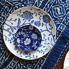 French Countryside Salad Plates - Indigo Blue and Floral Pattern - gorgeous
