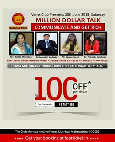 India's largest educational seminars and an end to end corporate training house brings to you a one day certification program Book Tickets at Rs 100 Off* Click to know more:- http://fastticket.in/event/million-dollar-talk