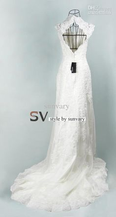 Lace Vintage Wedding Dresses Empire V-neck White Lace