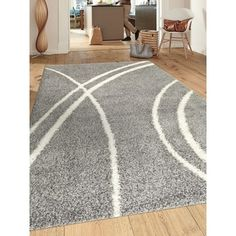 "Shop for Soft Cozy Contemporary Stripe L. Gray White 7'10"" x 10' Indoor Shag…"